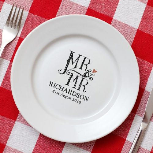 Dotty Personalised Male Wedding Plate